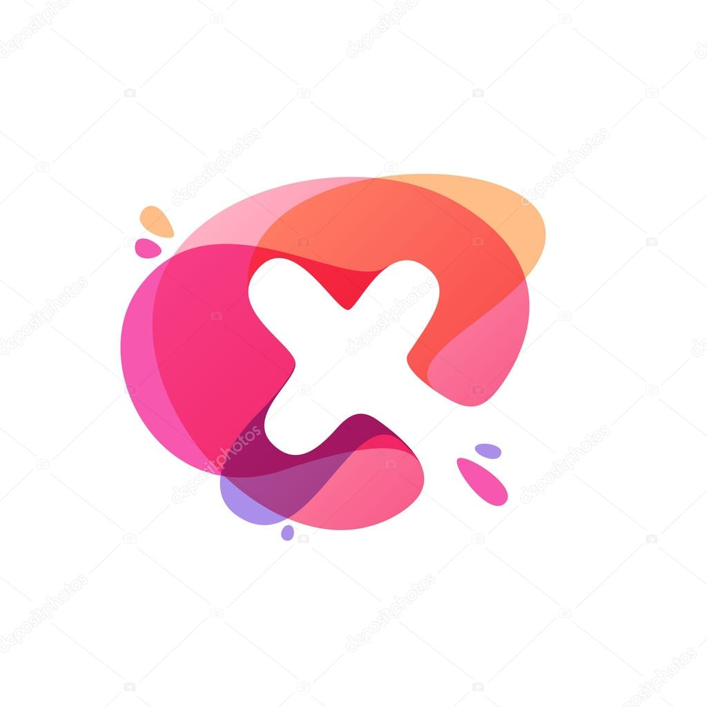Letter X logo at colorful watercolor splash background. — Stock ...