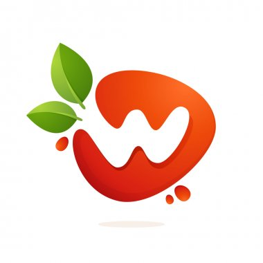 Letter W logo in fresh juice splash with green leaves.