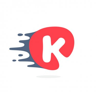 Letter K logo with fast speed water, fire, energy lines.