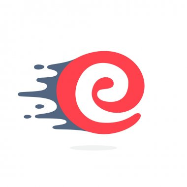 Letter E logo with fast speed water, fire, energy lines.