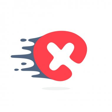 Letter X logo with fast speed water, fire, energy lines.