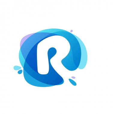 Letter R logo at blue water splash background.