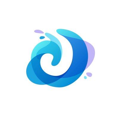 Letter J logo at blue water splash background.