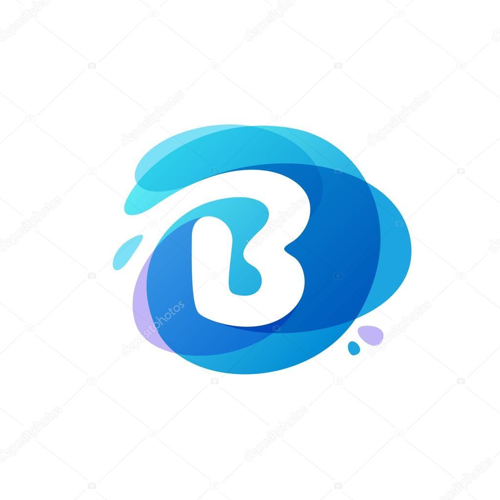 Letter B logo at blue water splash background.