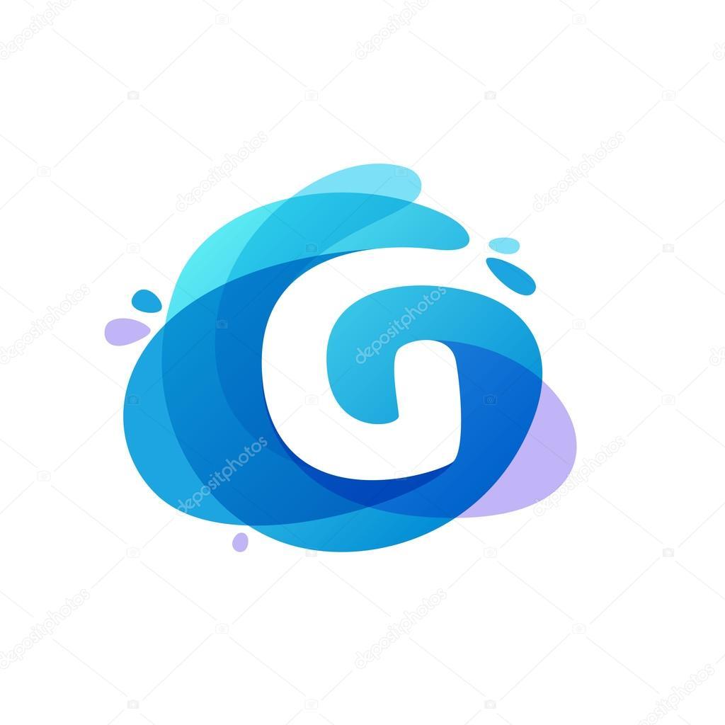 Letter G logo at blue water splash background.