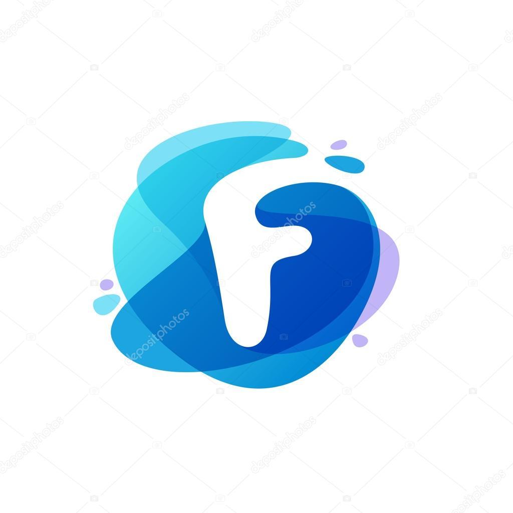 Letter F logo at blue water splash background.
