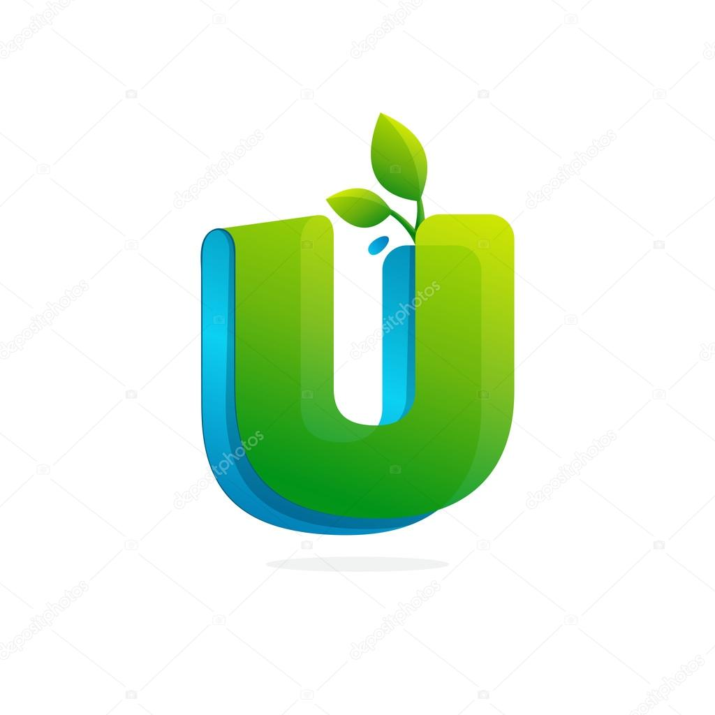 Letter U logo formed by ribbon with leaves and drops.