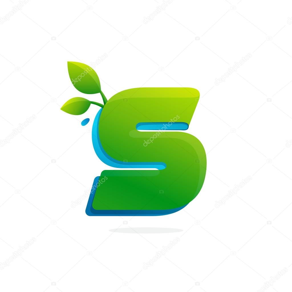 Letter S logo formed by ribbon with leaves and drops.