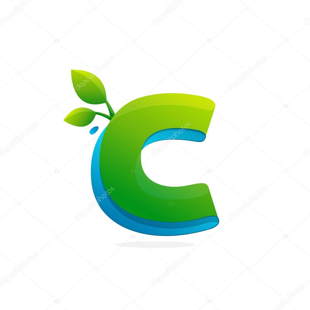 Letter C logo formed by ribbon with leaves and drops.