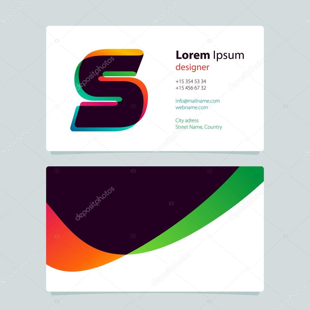 Business card template design with overlay S logo. — Stock Vector ...