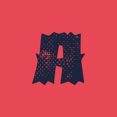 Letter A logo in horror style with grunge texture. Vector font template for your scary corporate identity, circus emblem, halloween posters, western style design, and etc. icon