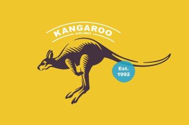 Kangaroo emblem in classic elegance engraving style. Vector logo for your sport sport team branding, Australian illustration, retro poster, and etc. icon