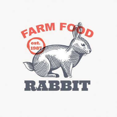 Farm rabbit emblem in classic elegance engraving style. Vector drawing for your food corporate identity, agriculture illustration, restaurant logo, and etc. icon