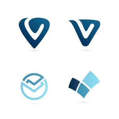 Blue V letter logo set