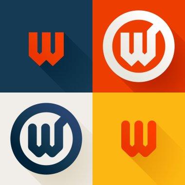 W letter line logo set