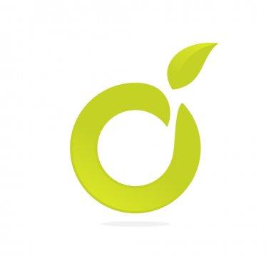 O letter green logo icon