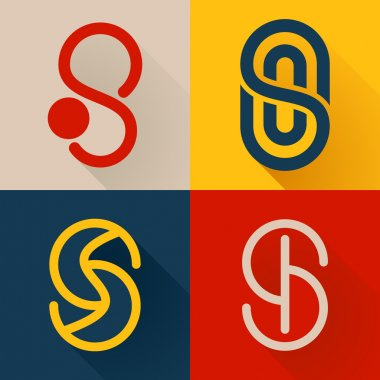 S letter line logo set