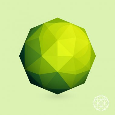 Abstract low-poly green sphere