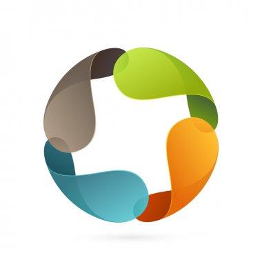 Abstract four petal star logo.