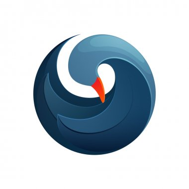 Twist blue goose bird logo