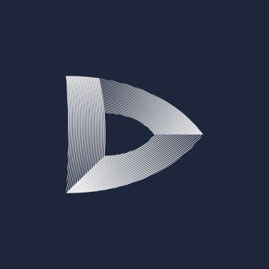 Vector D letter volume logo on black background stock vector