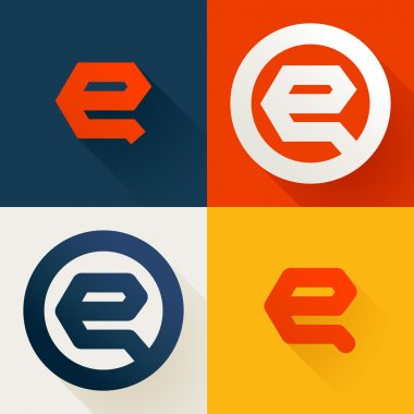 E letter line logo set, design template elements stock vector