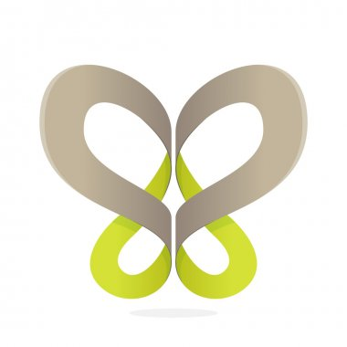 Abstract butterfly ribbon icon
