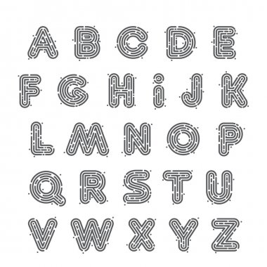 Line fingerprint English alphabet letters