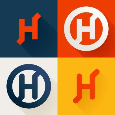 H letter line logo set