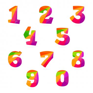 Numbers set in polygonal crystal style