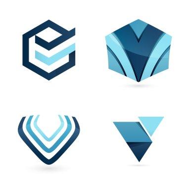 V letters logo set