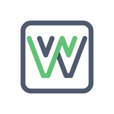 W letter crossing lines logo