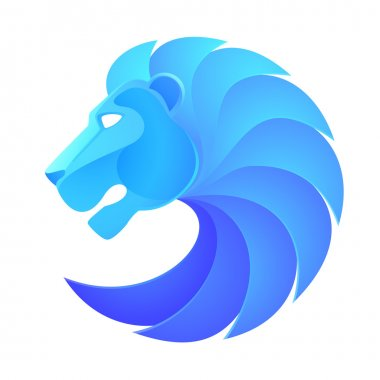 Blue lion head