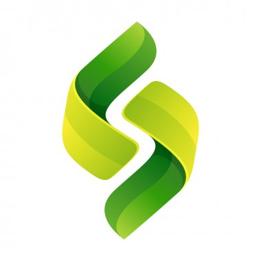 Abstract green leaf sphere logo.