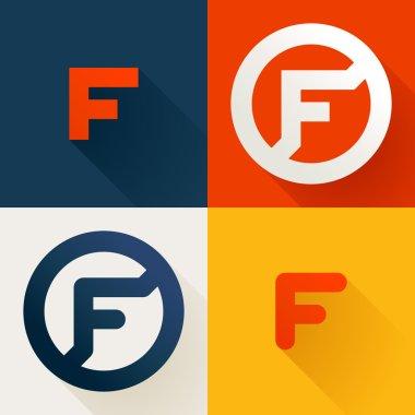 F letter line logo set