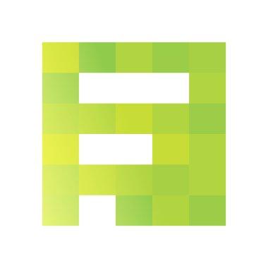 F letter pixels square logo