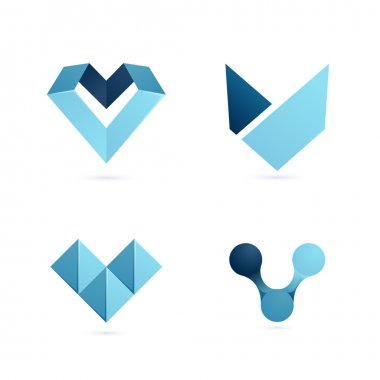 Blue V letter logo set