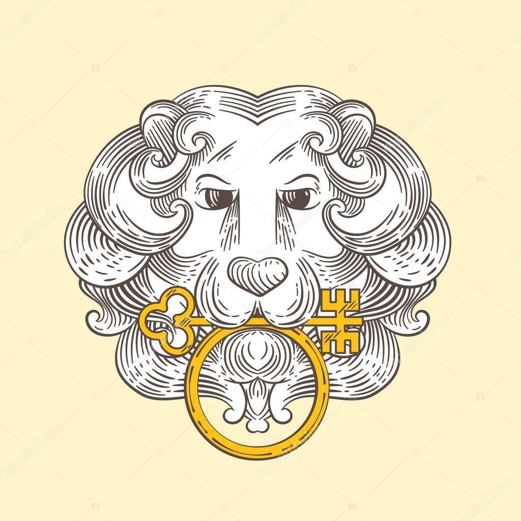 Heraldic Lion Head Classic Door Knocker Stock Vector