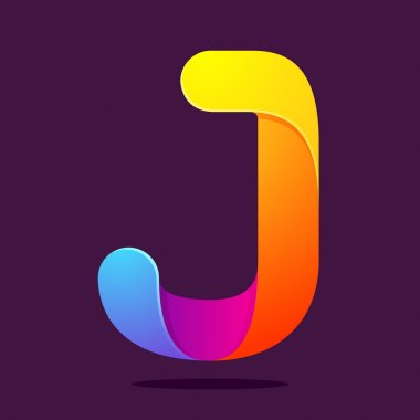 J letter one line colorful logo