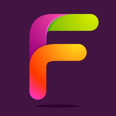 F letter one line colorful logo