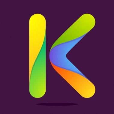 K  letter one line colorful logo