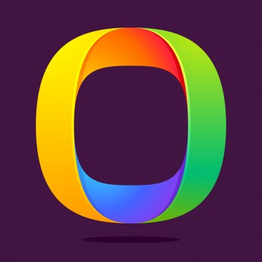 O letter one line colorful logo
