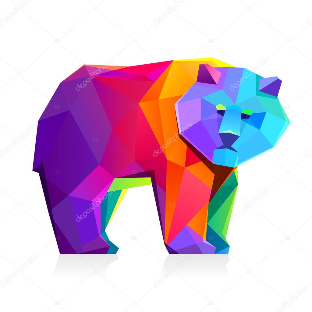 Rainbow bear  character.