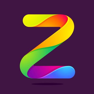 Z letter one line colorful logo