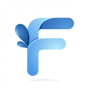 F letter with water waves