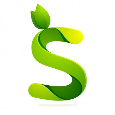 S letter with green leaves