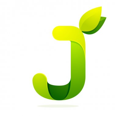 J letter with green leaves