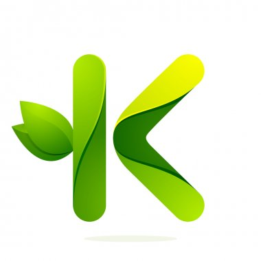 K letter with green leaves
