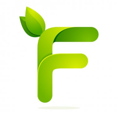 F letter with green leaves