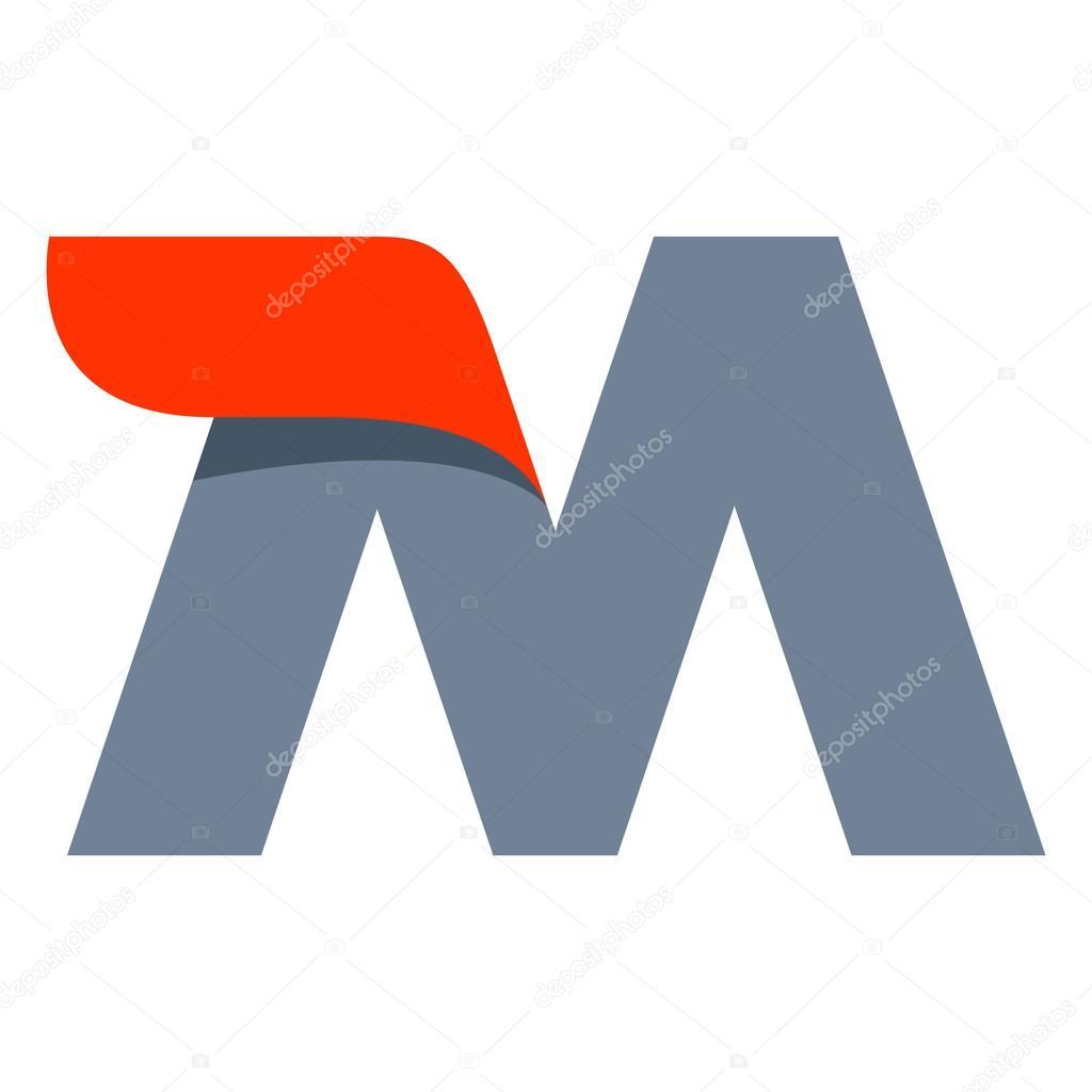 m letter logo design template stock vector